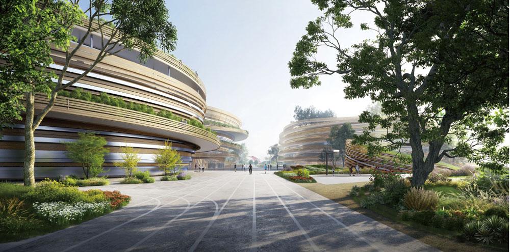 台中巨蛋廣場和軸線與台中洲際棒球場連結形成都市軸線-創造出直線通透的市民廣場