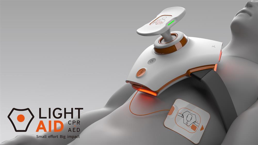 圖4、「LightAid」結合CPR(心肺復甦術)與AED(自動體外心臟電擊去顫器),更搭配語音提示與圖示,提供步驟式急救教學。
