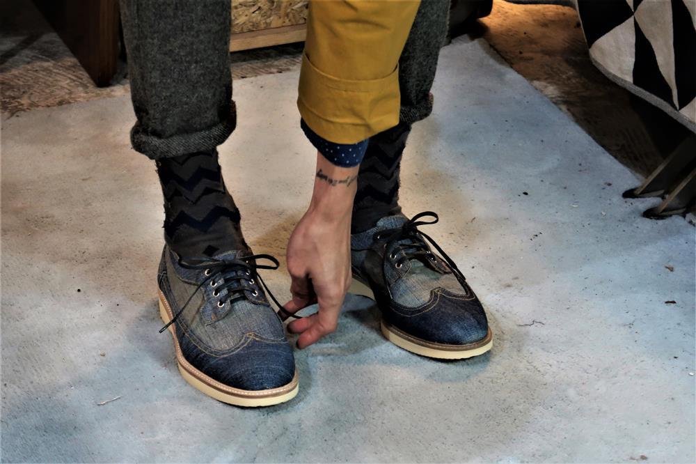 手工再製單寧鞋-細節-01