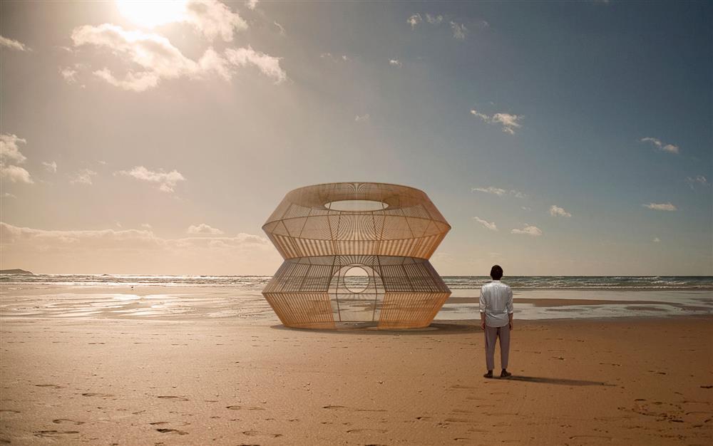 漁光島藝術節將展出藝術家范承宗作品《筌屋》模擬圖。圖/台南市文化局提供
