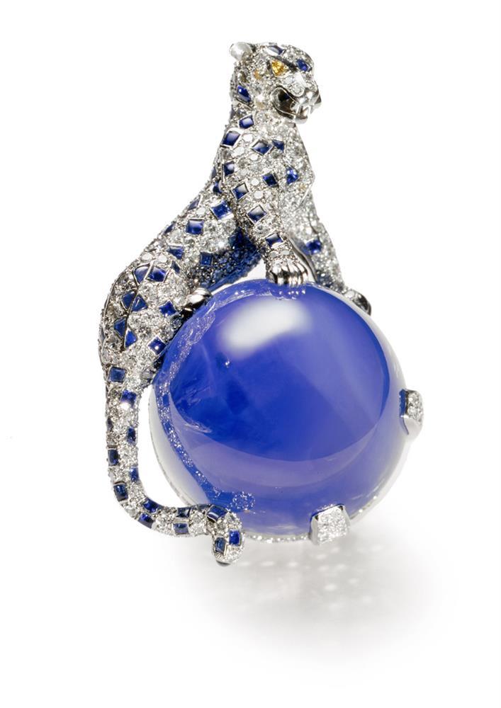 美洲豹藍寶石胸針
