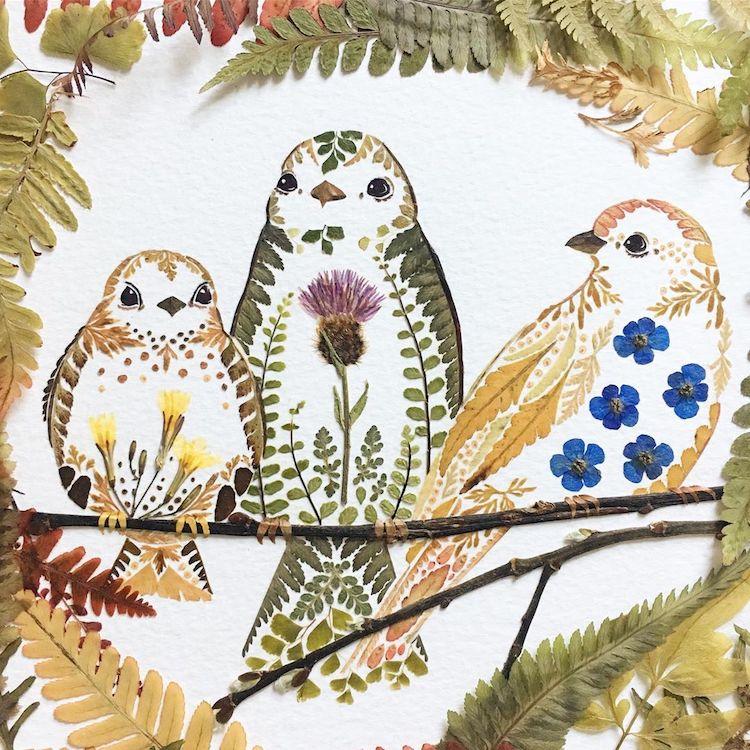 絕美碎葉押花拼畫!英國藝術家Helen Ahpornsiri將樹葉花草、蕨類製成精緻動物圖_01