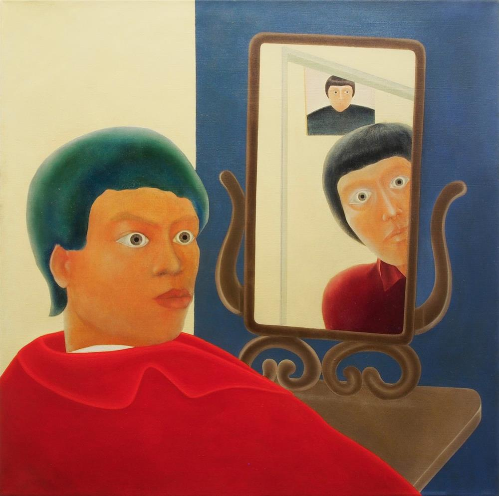 "陳昭宏Chen Hilo, ""Self Portrait and Mirrors"", 1969, oil on cancas, 111.8 x 111.8 cm, Courtesy of the artist and Each Modern."