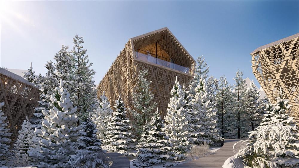 雪地中的絕美森林樹屋
