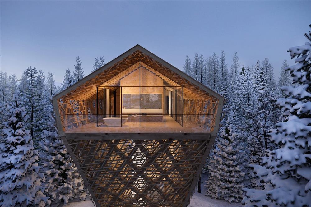 雪地中的絕美森林樹屋3