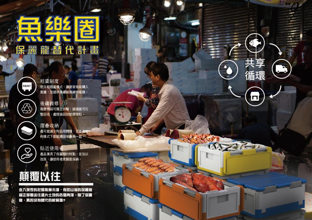 1循環設計特別獎:「魚樂圈(保麗龍替代計畫)」(徐廣澤、林子翔,東南科技大學創意產品設計系)