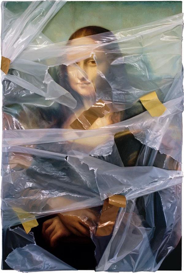 洛杉磯藝術家Robin Eley超寫實「拆封」世界名畫創作!透明塑膠套、膠帶都是畫的_03
