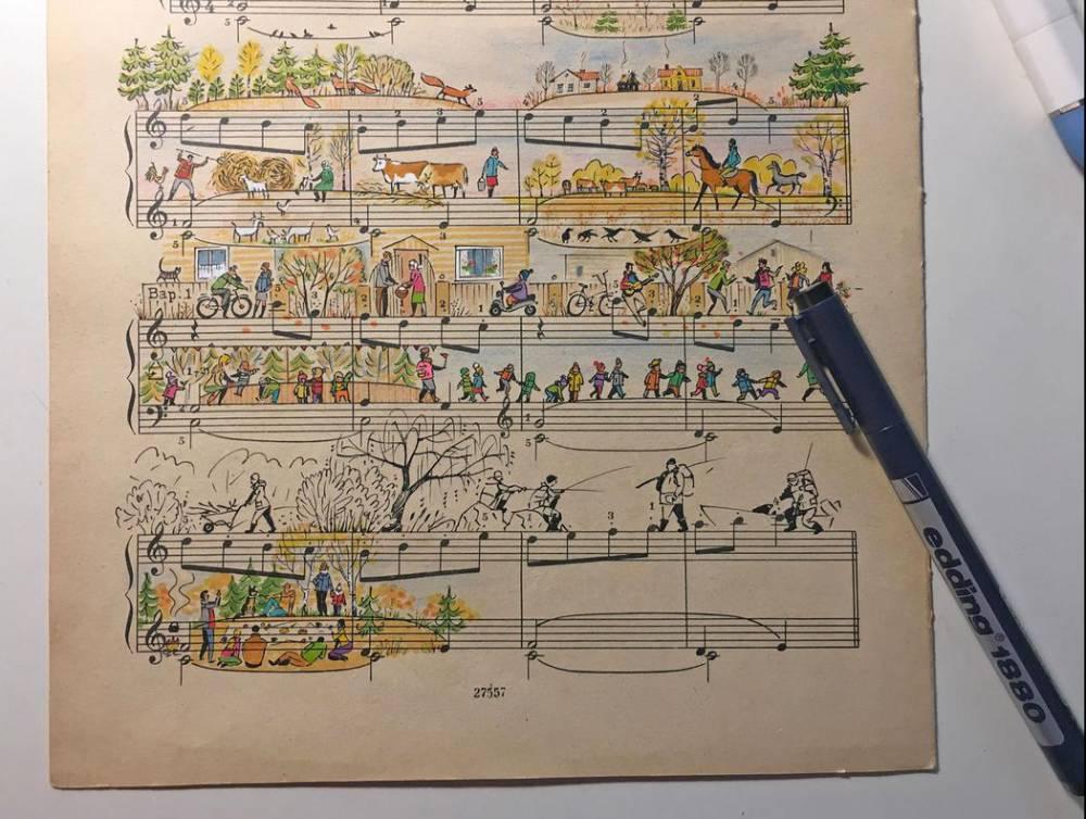 音符動起來了!俄羅斯插畫家為五線譜畫上創意故事_08