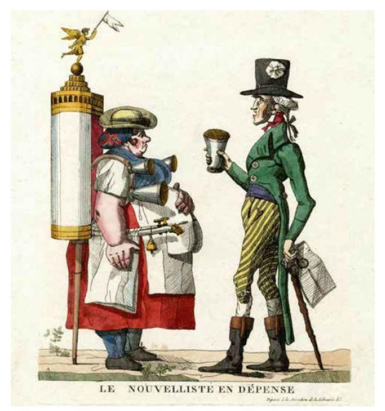 描繪老人向街頭小販購買一杯檸檬水的諷刺作品(1814年)。
