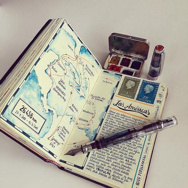 前航空工程師超細膩手繪紀錄環遊世界!裝滿12本Moleskine筆記的旅行藝術!1