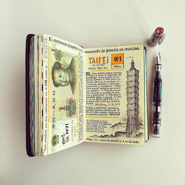 前航空工程師超細膩手繪紀錄環遊世界!裝滿12本Moleskine筆記的旅行藝術!3