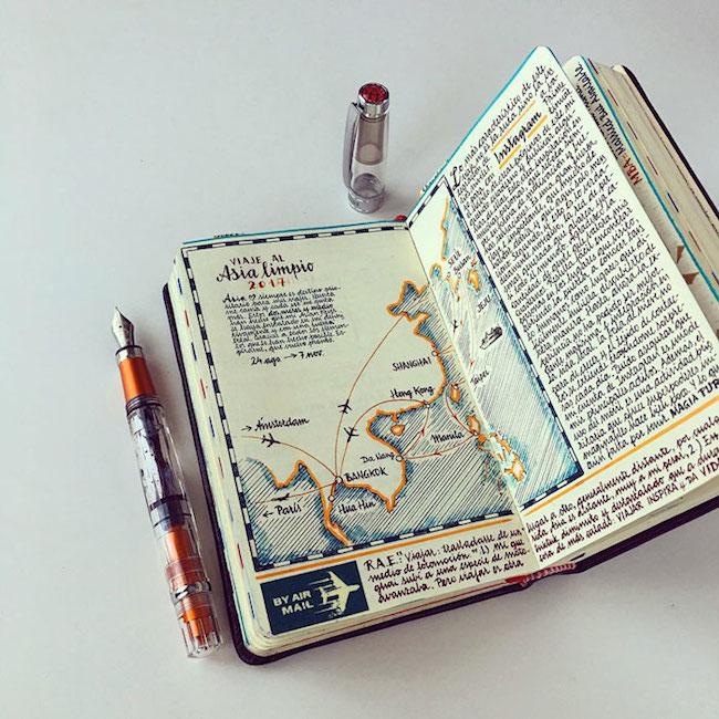 前航空工程師超細膩手繪紀錄環遊世界!裝滿12本Moleskine筆記的旅行藝術!14