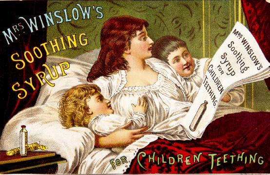 溫斯洛夫人的舒緩糖漿廣告,待溫斯洛夫人去世後才發現驚悚的內情。也因為過往這些不實廣告,才影響廣告法規的誕生