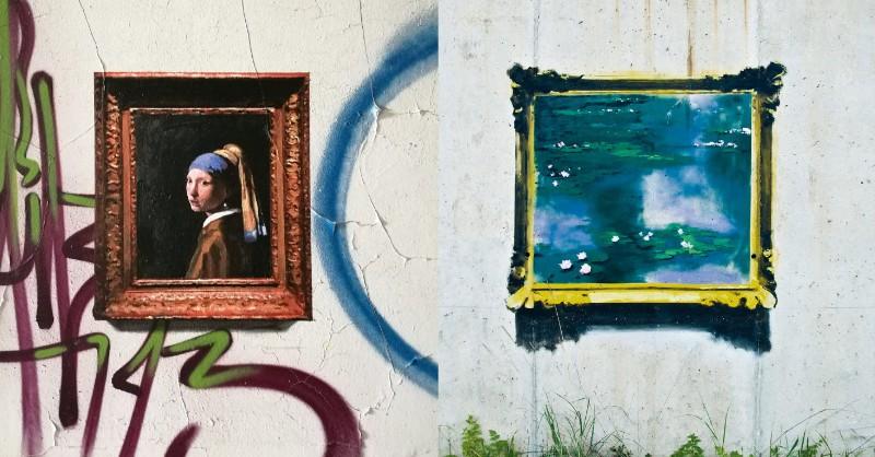 彷彿走錯空間的珍貴名畫再塗鴉