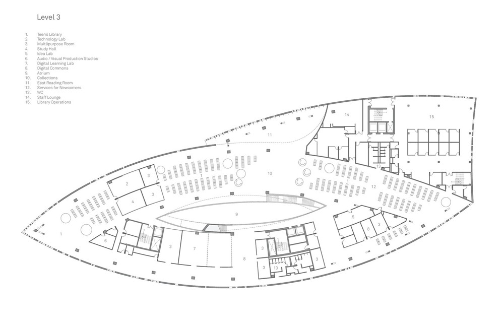 加拿大卡加利圖書館是建築也是隧道!挪威建築團隊Snøhetta打造飄在輕軌上的白色雲朵_13