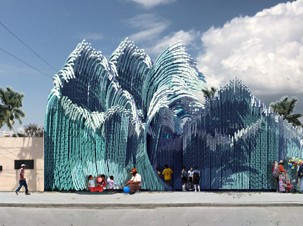 瑞典UMA建築團隊寶特瓶打造的千層巨浪!妝點墨西哥藝術學校1