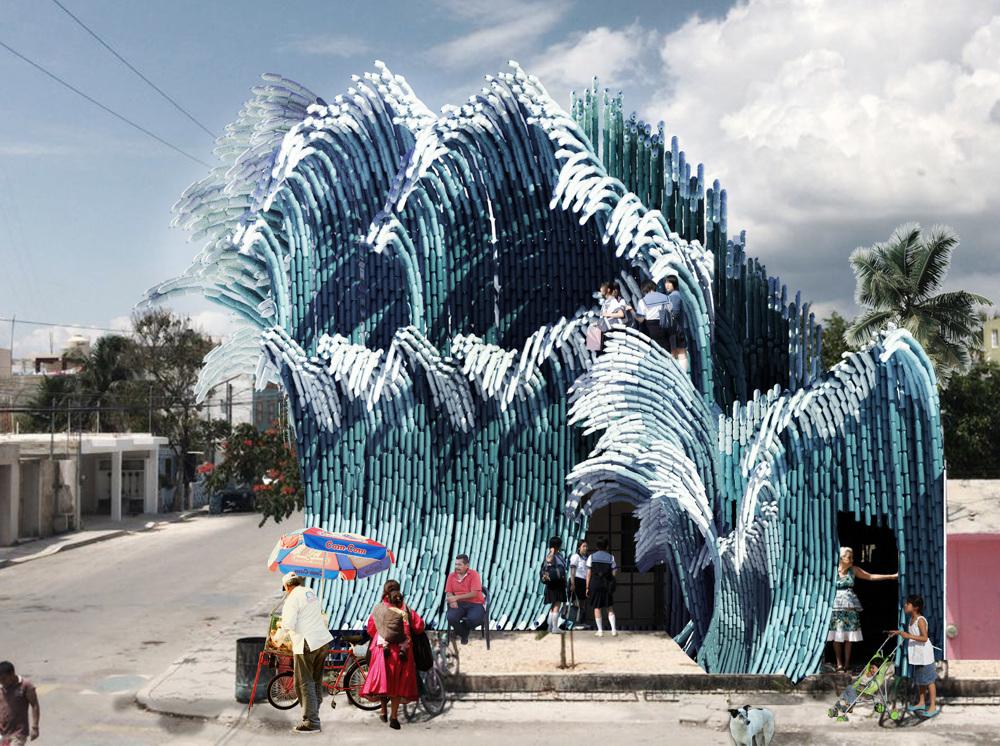 瑞典UMA建築團隊寶特瓶打造的千層巨浪!妝點墨西哥藝術學校2