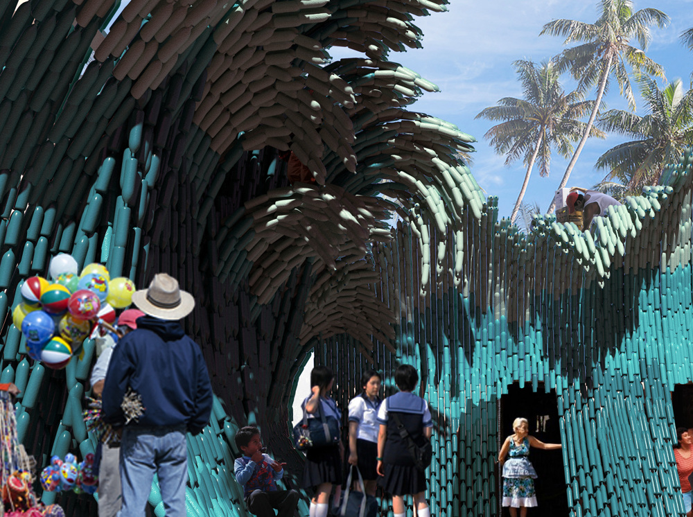 瑞典UMA建築團隊寶特瓶打造的千層巨浪!妝點墨西哥藝術學校3