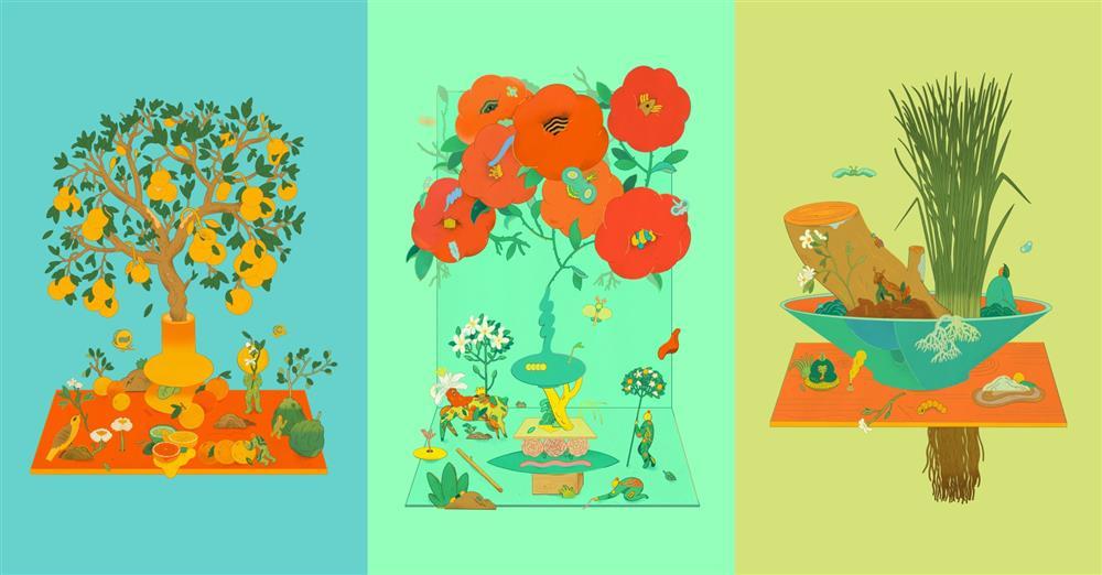 B作畫如調香!川貝母詮釋植物氣味,創作6座繁美盆景園地