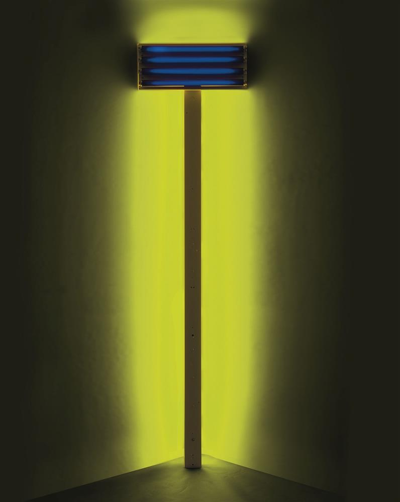 "Dan Flavin, ""Untitled (for S. D.)"", 1992, Ultraviolet and yellow fluorescent light, 243.8 x 60.9 x 20.3 cm, Courtesy of the artist and BASTIAN."