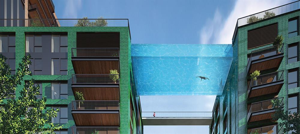 英國倫敦九榆樹區「使館花園」全球首座透明高空泳池_03