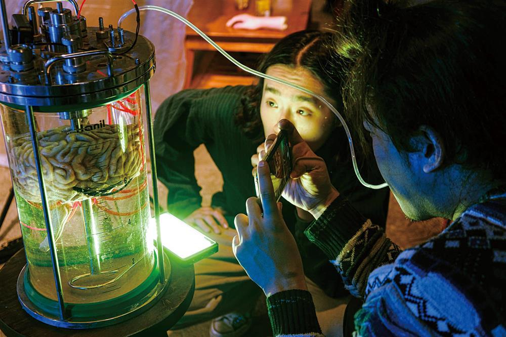 該道具由雕塑、翻模、上色而成,製作宛如實驗室中泡在化學液體裡的真實人腦。