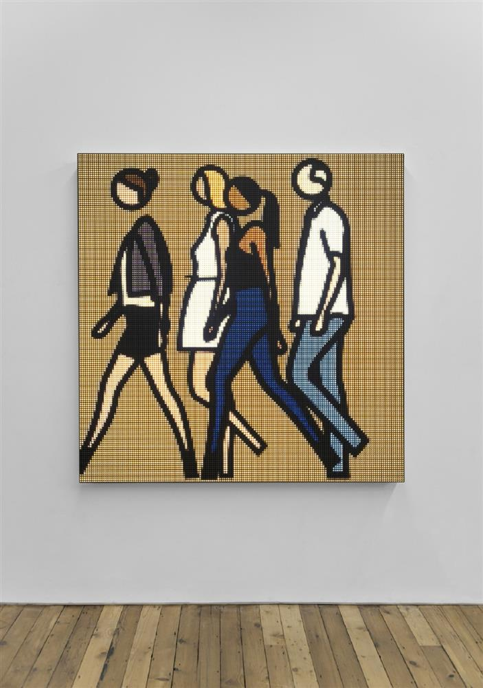 "Julian Opie, ""OPIE180005 People. 31"", 2018, LED wall mounted Sculpture, 160 x 160 cm, Courtesy of the artist and Lisson Gallery."