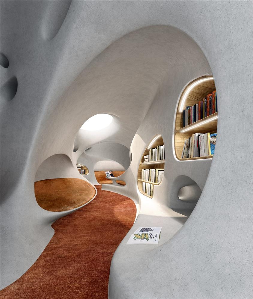 MAD操刀海南島「雲洞圖書館」!海灣月光下的有機洞穴圖書館建築_06