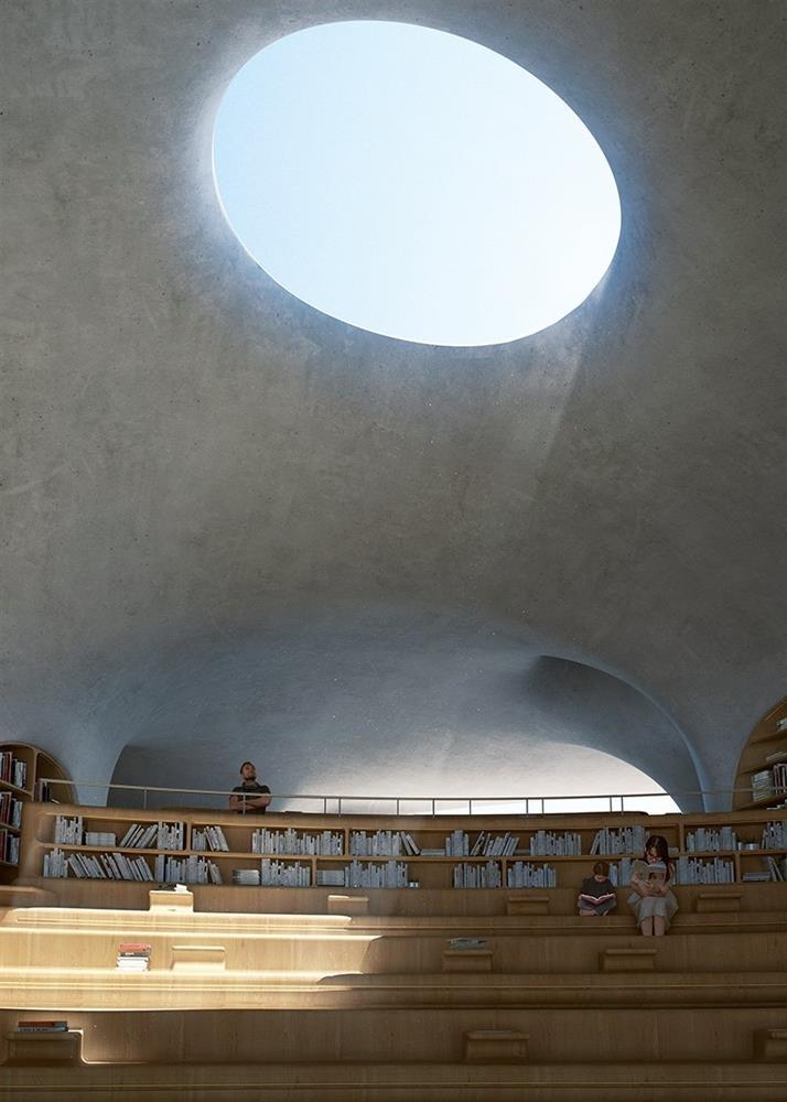 MAD操刀海南島「雲洞圖書館」!海灣月光下的有機洞穴圖書館建築_05