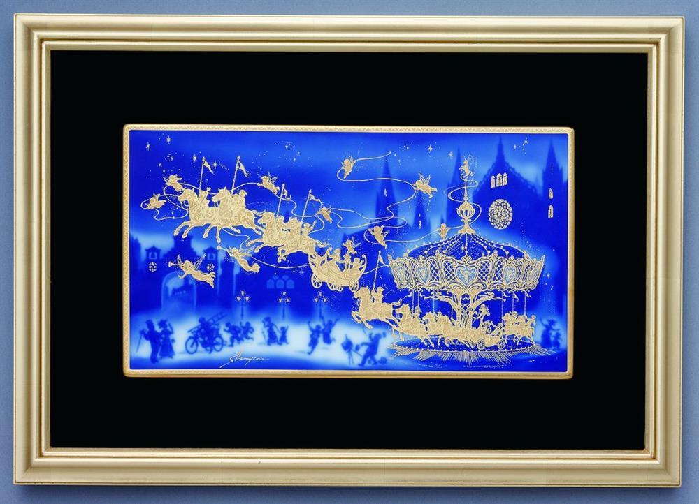 OKURA旋轉木馬陶版畫40x57cm訂價288000