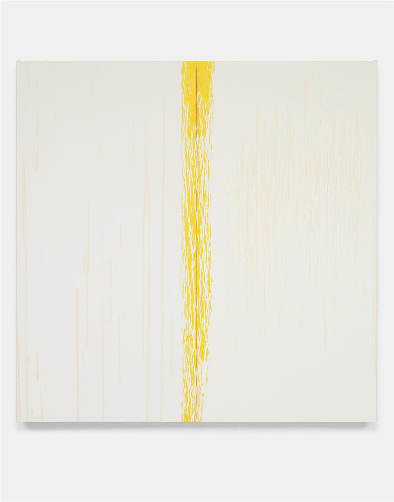 "Pat Steir, ""Yellow and White"", 2018, Oil on canvas, 121.9 x 121.9 cm, Courtesy of the artist and Lévy Gorvy."