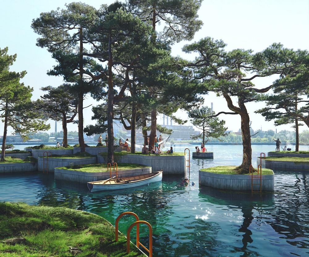 漂浮在海上的木作浮島公園!建築師打造「哥本哈根島嶼計畫」結合桑拿、咖啡廳的新形態公園_02
