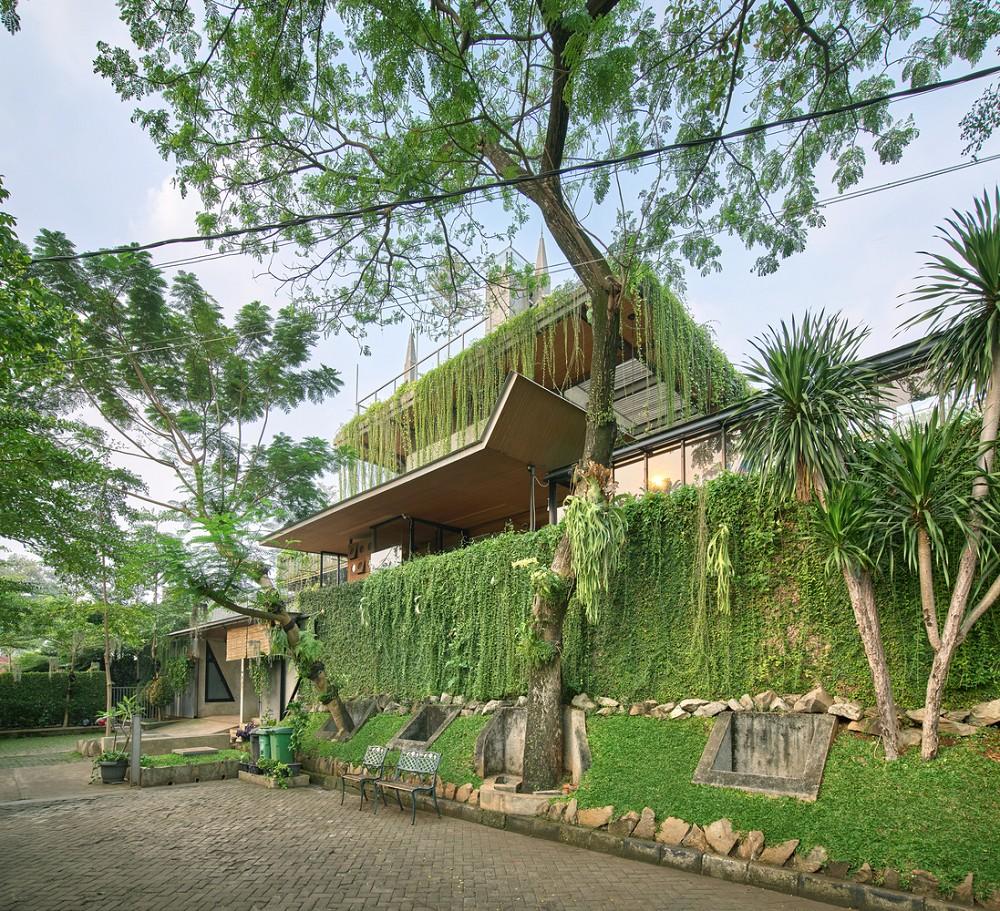 如花園般的夢幻共享建築!印尼Guha結合圖書館、牙科診所、住宅、設計事務所的綠意空間_11