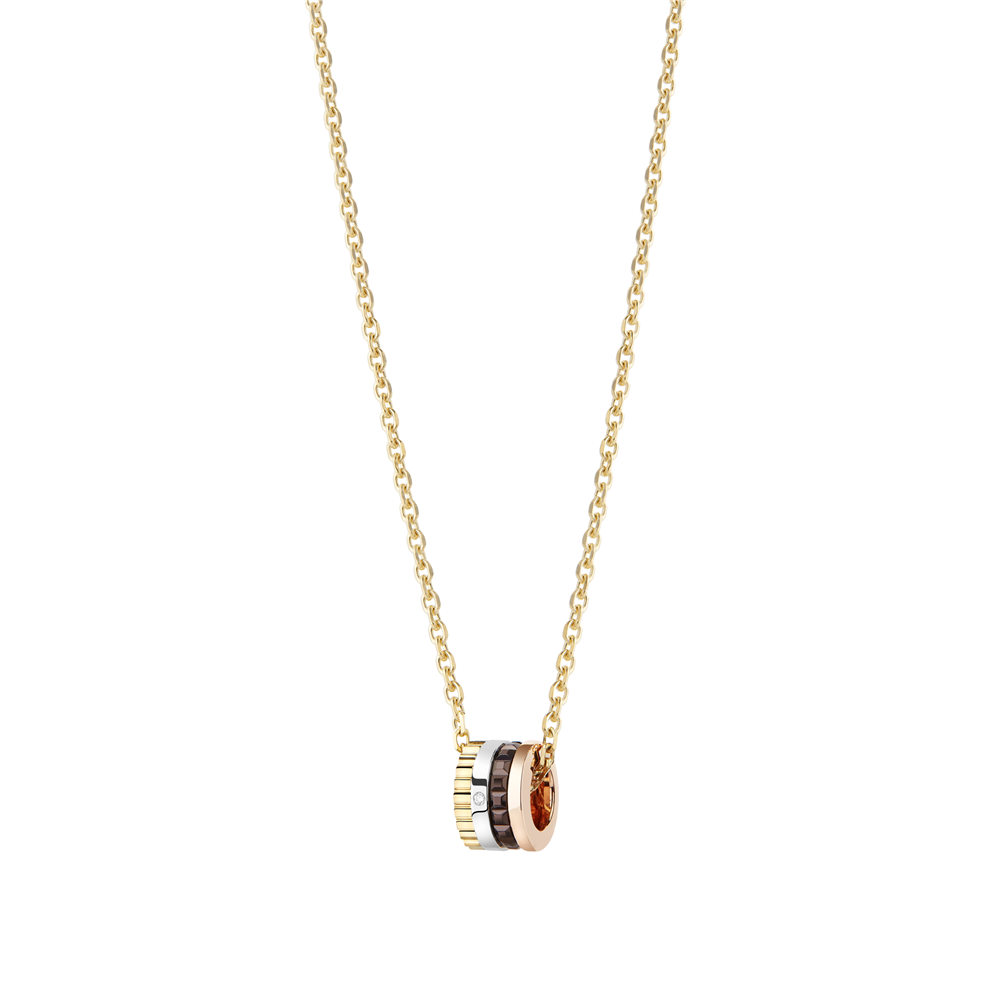 Quatre Classique XS pendant, 1 diamond, brown PVD, white, pink and yellow gold