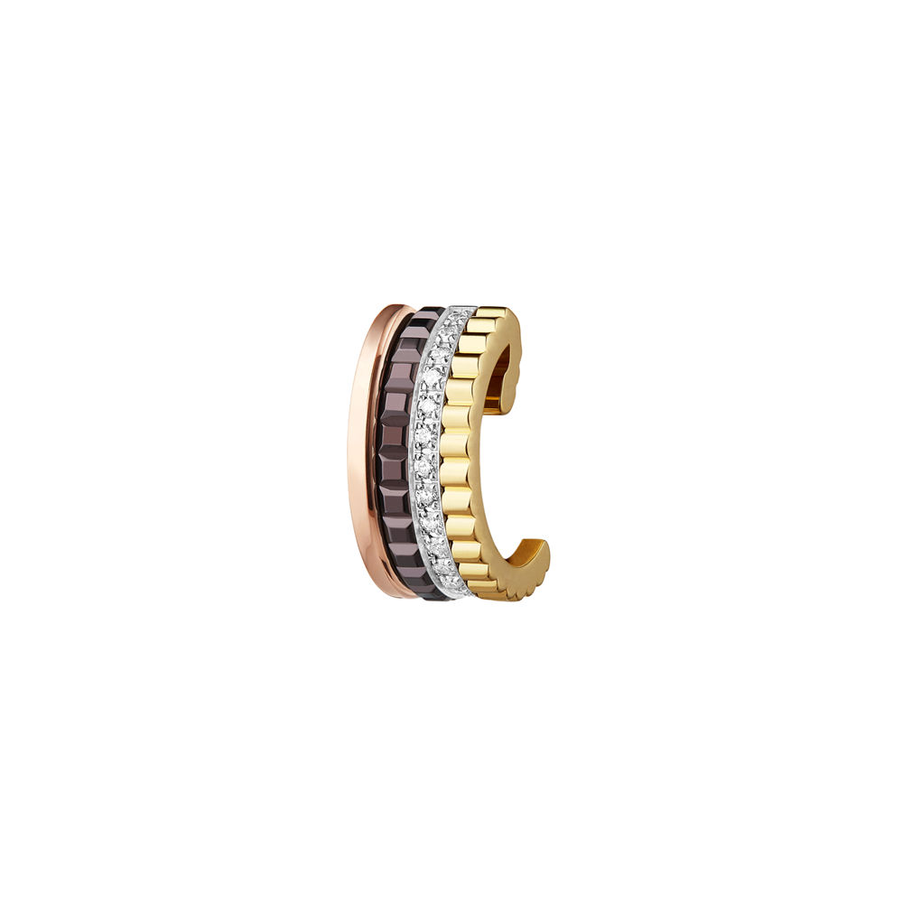 Quatre Classique small clip earring, diamonds, brown PVD, white, yellow and pink gold_1