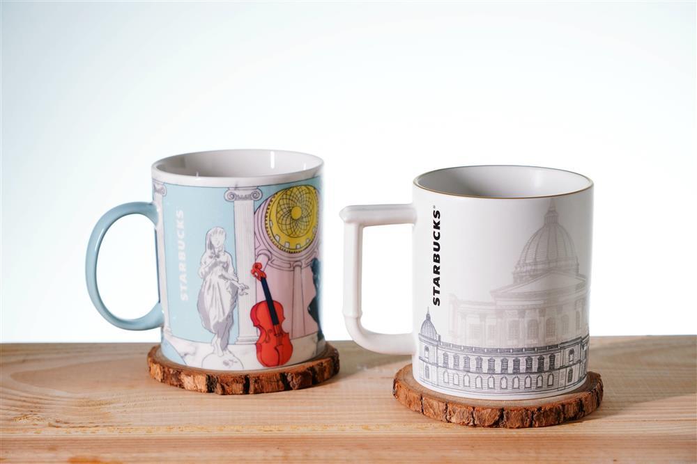 星巴克奇美博物館門市推出博物館主題的特色馬克杯,,每個售價550-680元。