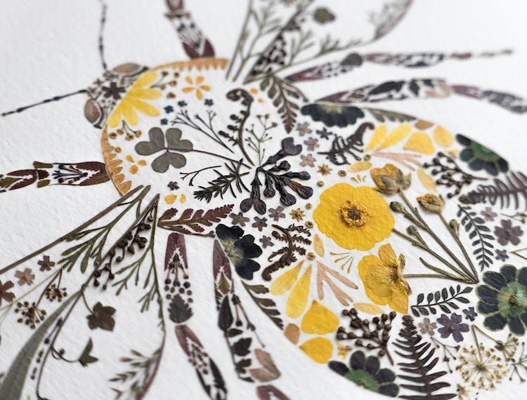 絕美碎葉押花拼畫!英國藝術家Helen Ahpornsiri將樹葉花草、蕨類製成精緻動物圖_04