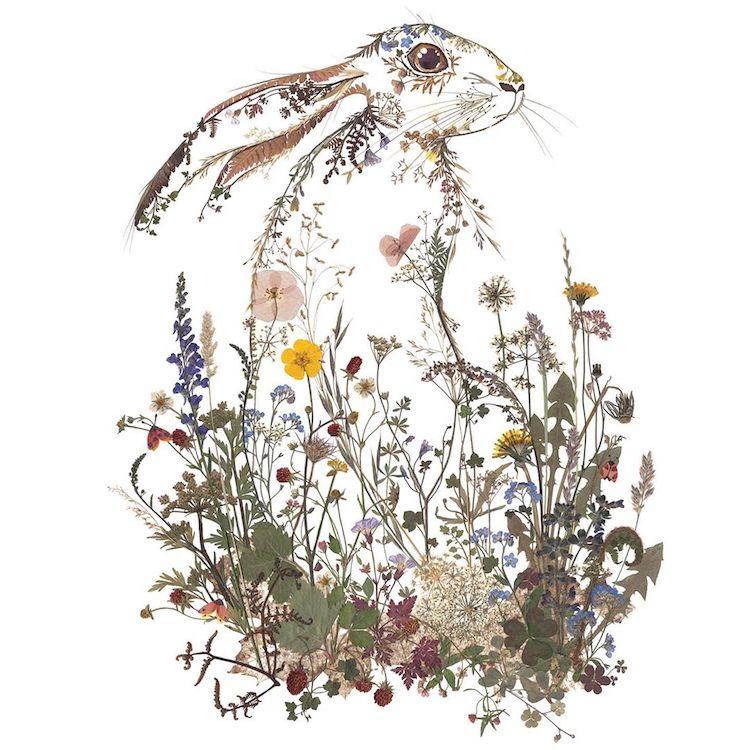 絕美碎葉押花拼畫!英國藝術家Helen Ahpornsiri將樹葉花草、蕨類製成精緻動物圖_06