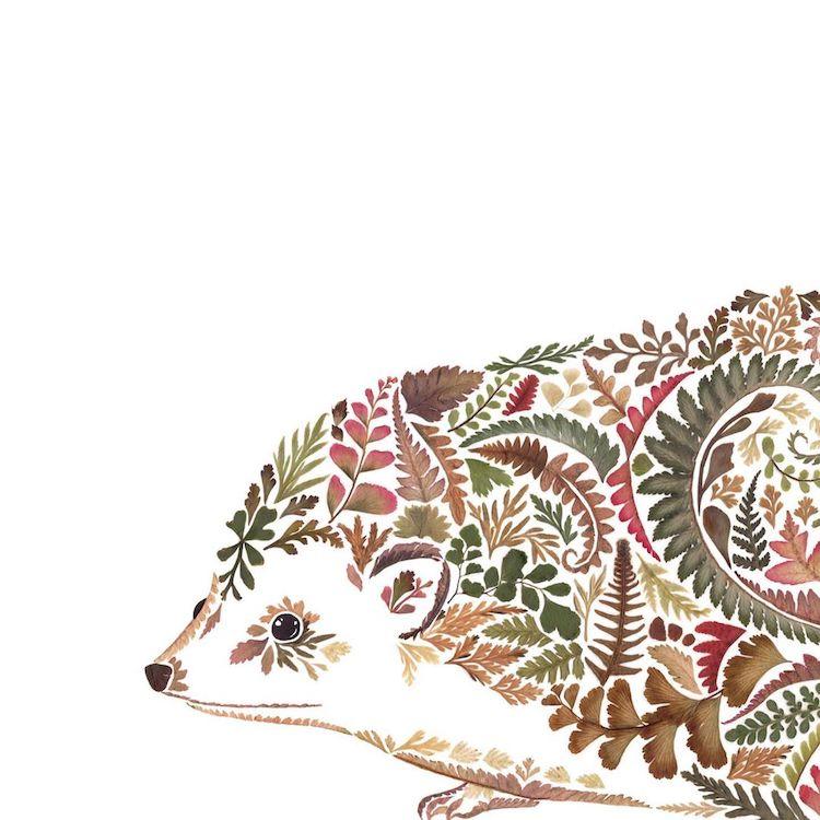 絕美碎葉押花拼畫!英國藝術家Helen Ahpornsiri將樹葉花草、蕨類製成精緻動物圖_11