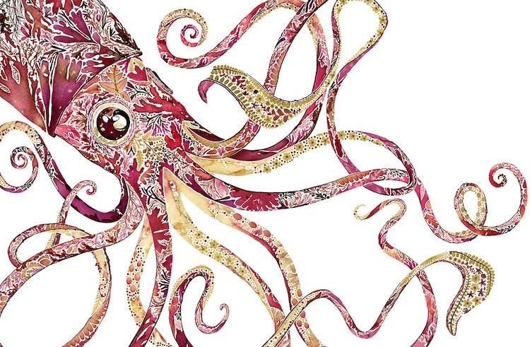 絕美碎葉押花拼畫!英國藝術家Helen Ahpornsiri將樹葉花草、蕨類製成精緻動物圖_02