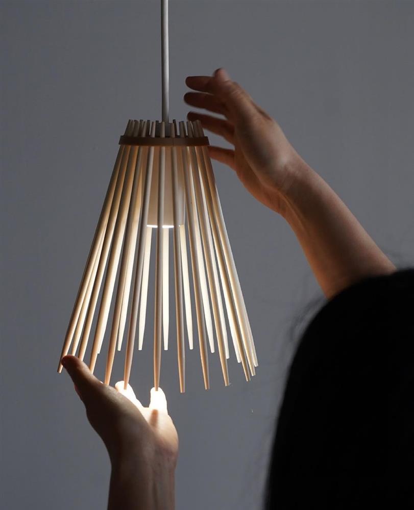 免洗筷變身簡約摩登燈罩04