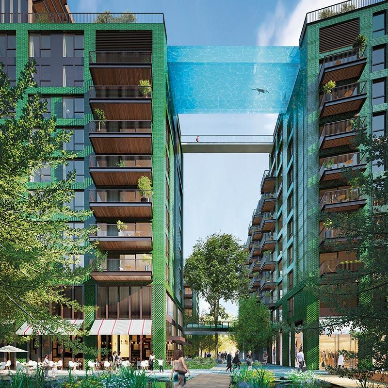 英國倫敦九榆樹區「使館花園」全球首座透明高空泳池_02