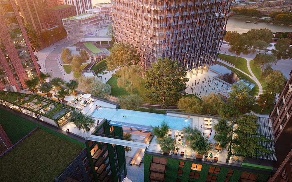 英國倫敦九榆樹區「使館花園」全球首座透明高空泳池_01