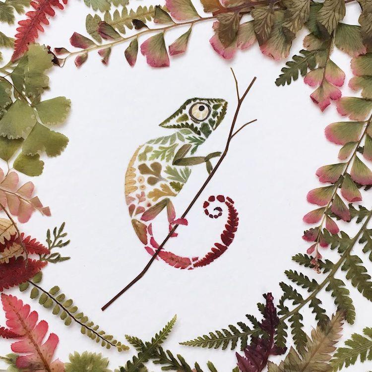 絕美碎葉押花拼畫!英國藝術家Helen Ahpornsiri將樹葉花草、蕨類製成精緻動物圖_03