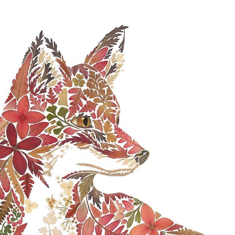 絕美碎葉押花拼畫!英國藝術家Helen Ahpornsiri將樹葉花草、蕨類製成精緻動物圖_08