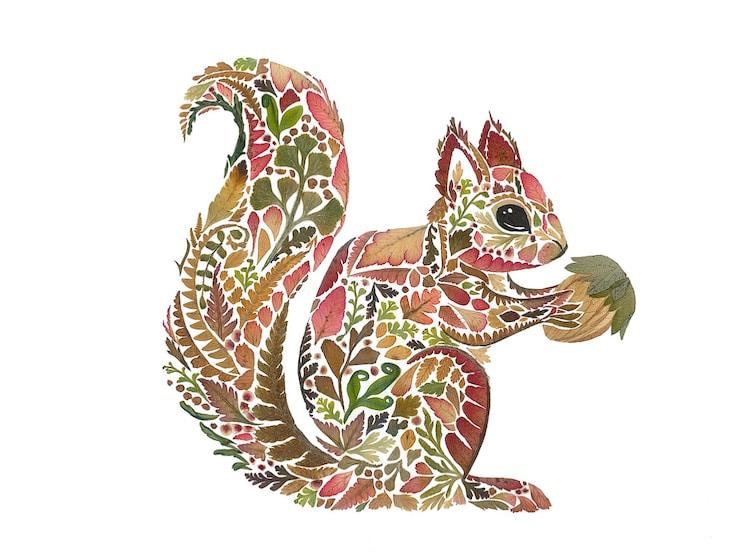 絕美碎葉押花拼畫!英國藝術家Helen Ahpornsiri將樹葉花草、蕨類製成精緻動物圖_09