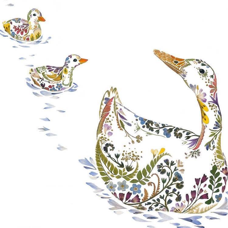 絕美碎葉押花拼畫!英國藝術家Helen Ahpornsiri將樹葉花草、蕨類製成精緻動物圖_13
