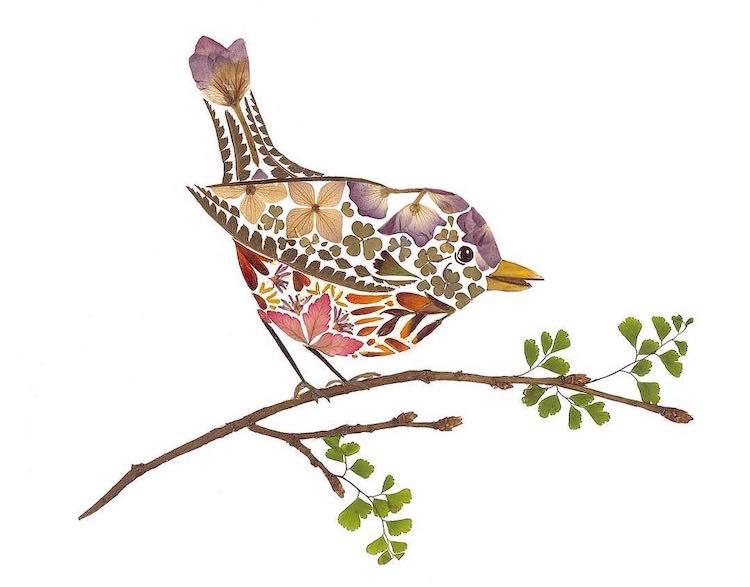 絕美碎葉押花拼畫!英國藝術家Helen Ahpornsiri將樹葉花草、蕨類製成精緻動物圖_14
