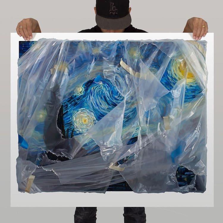 洛杉磯藝術家Robin Eley超寫實「拆封」世界名畫創作!透明塑膠套、膠帶都是畫的_01