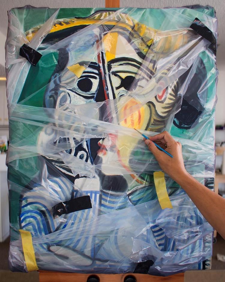 洛杉磯藝術家Robin Eley超寫實「拆封」世界名畫創作!透明塑膠套、膠帶都是畫的_05